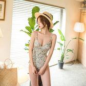 新款泳衣女細肩帶深V碎花清新田園遮肚顯瘦小胸聚攏性感連體泳衣 森活雜貨