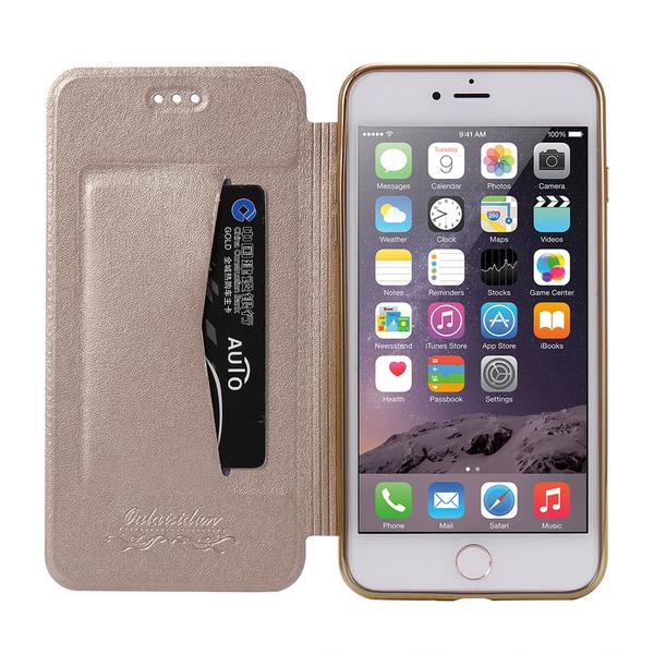 Apple iPhone 7 Plus/8 Plus 共用 時尚真皮質感 透明電鍍邊框 側掀美背皮套 手機殼/保護套