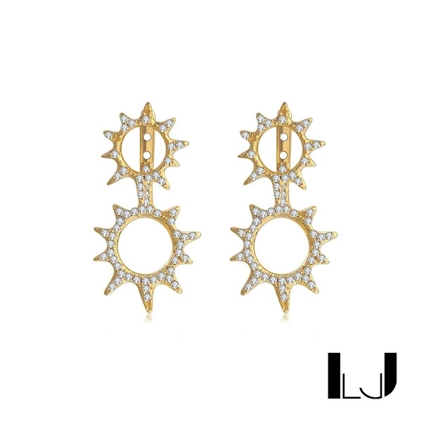Little Joys 雙陽鋯石耳釘 925銀鍍金 旅美原創設計品牌