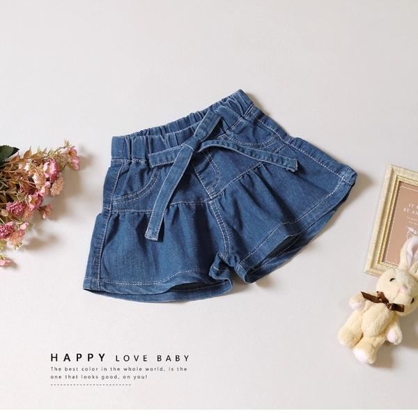 甜美蝴蝶結綁帶蛋糕牛仔短褲 丹寧 藍 彈性腰圍 女童 春夏 寬褲 闊腿褲