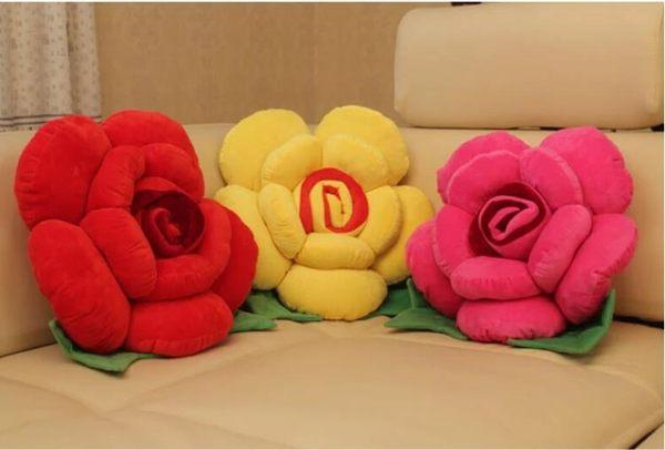 卡通玫瑰花抱枕靠墊 沙發靠墊裝飾花朵抱枕 汽車床頭抱枕靠背WY【八五折免運直出】