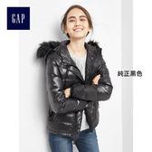 Gap女裝-簡潔純色連帽絎縫羽絨外套 864179-純正黑色