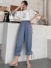 七分褲 雪紡寬管褲女夏季薄款寬鬆高腰顯瘦垂感飄逸冰絲燈籠褲直筒七分褲