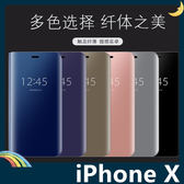 iPhone X/XS 5.8吋 電鍍半透保護套 鏡面側翻皮套 免翻蓋接聽 原裝同款 支架 手機套 手機殼