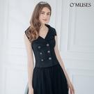 OMUSES V領排釦黑色上衣襯衫