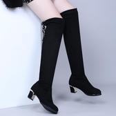廣場舞鞋女2019新款舞蹈鞋中筒靴軟底布鞋秋冬季水兵舞靴子