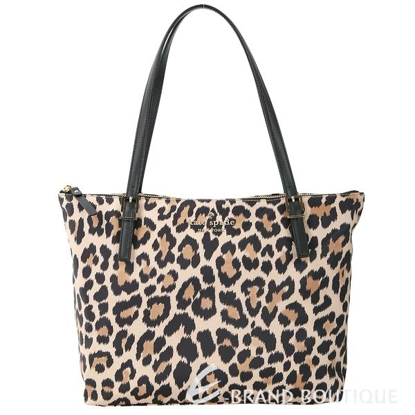 Kate Spade Leopard Lane 豹紋印花尼龍托特包(黑色) 1810367-28