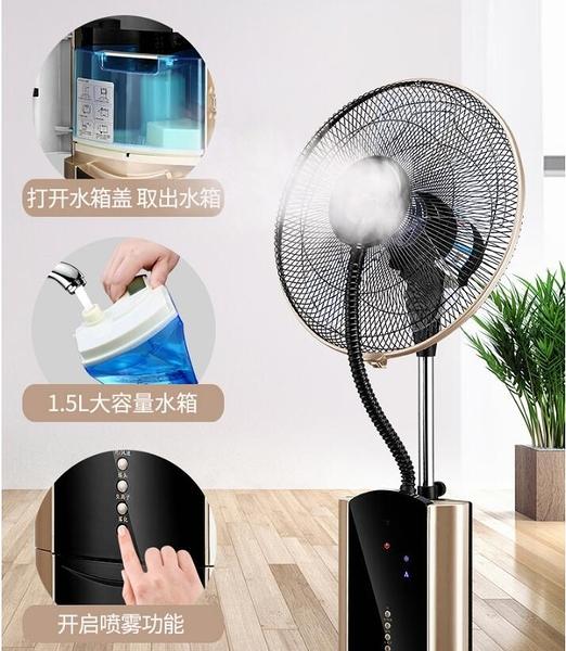 電風扇噴霧風扇家用落地扇水冷靜音空調風扇加水加冰工業制冷地扇 小山好物