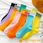 彩色襪子女中筒襪純棉素色長襪秋冬糖果色堆堆襪【小橘子】