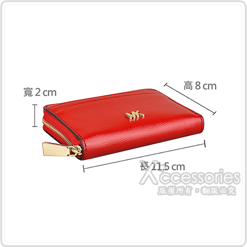 MICHAEL KORS MOTT金字LOGO漆皮8卡拉鏈零錢包(亮紅)