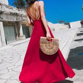 2019新款女夏性感海邊度假沙灘長裙紅色吊帶露背小心機漏背洋裝 米蘭潮鞋館