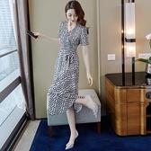 女神衣波點雪紡連身裙2021新款女夏法式復古長裙收腰顯瘦氣質女神范衣服LX 嬡孕哺