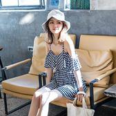 泳衣 泡溫泉女2019新款保守連體裙式小胸遮肚顯瘦性感韓國小香風