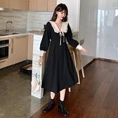大呎碼洋裝 法式復古翻領氣質洋裝長袖胖妹妹遮肚子顯瘦小黑裙 【免運快出】