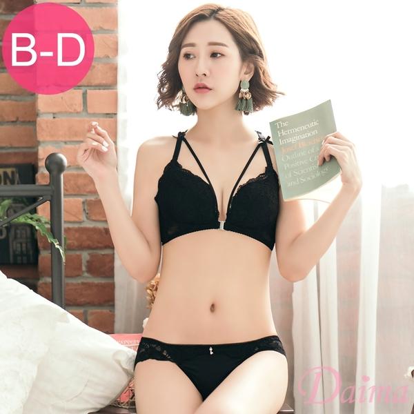 (B-D)前扣性感骨線蕾絲美背無鋼圈成套內衣_黑【Daima黛瑪】