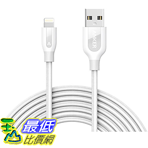 [106美國直購] Anker PowerLine+ Lightning Cable(10ft)Durable and Fast Charging Cable(White)充電線 傳輸線