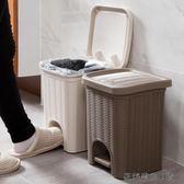 仿藤編腳踏垃圾桶創意客廳小紙簍 易樂購生活館