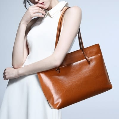 肩背包 真皮-經典復古簡約購物女手提包2款73md16【巴黎精品】