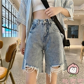 牛仔短褲中褲女夏寬鬆破洞高腰百搭直筒闊腿五分褲子【桃可可服飾】