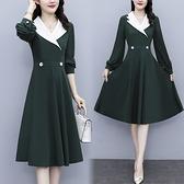 大碼長袖洋裝 連身裙 禮服9468長袖墨綠修身連身裙氣質領拼接套頭a字裙紐扣 非A008 胖丫