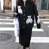 2019春季韓國新款復古chic寬鬆加厚小熊開襟長袖毛衣針織衫外套女