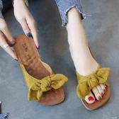 韓版牛筋軟底孕婦涼拖鞋女冬時尚新款蝴蝶結外穿百搭海邊沙灘拖鞋      芊惠衣屋