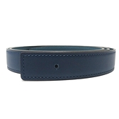 HERMES 愛馬仕 Belt 95cm 30深藍色xW0綠色雙面皮帶(無扣頭) D刻【二手名牌BRAND OFF】