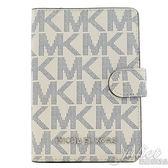 茱麗葉精品 全新精品 MICHAEL KORS Jet Set 滿版大LOGO PVC護照夾.藍/白