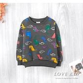 純棉 可愛彩色繪圖恐龍圖案印花縮口挺版內刷毛上衣 鐵灰色 保暖 男童上衣 厚 兒童長袖 冬童裝