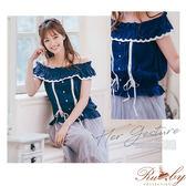 上衣 露比設計一字領荷葉交叉綁帶短袖上衣-深藍色-Ruby s露比午茶