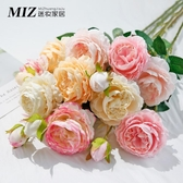 裝飾花 仿真牡丹花假花家居客廳裝飾干花餐桌擺件玫瑰花束婚慶花瓶插花 - 古梵希