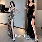 克妹Ke-Mei【ZT70809】PARTY辛辣夜店性感低胸V領豹紋金絲絨開叉中長洋裝