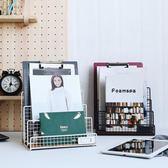 北歐鐵藝書架文藝黑色多隔層文件架創意雜志桌面收納置物架