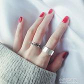 純銀戒指女日韓國潮人學生簡約創意開口復古做舊大寬面鏈條食指戒『小宅妮時尚』