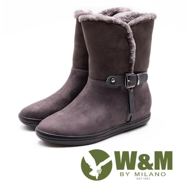 【南紡購物中心】W&M 經典毛絨皮帶釦拉鍊式中筒 女靴-灰咖(另有黑)