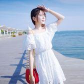 洋裝夏季i miss初戀裙女學生顯瘦一字肩超仙小個子收腰小清新連衣裙「輕時光」