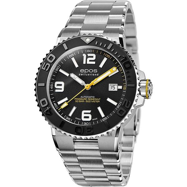 epos 愛寶時 Sportive Diver 500米防水陶瓷錶圈自動排氦機械錶-黑/42mm 3441.131.20.55.30