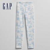 Gap女童 舒適彈力高腰鬆緊運動褲 678488-藍色紮染
