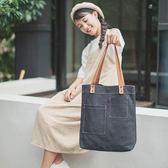 側肩背包 韓版簡約帆布包 時尚手提托特包《小師妹》f871