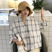 春夏女裝韓版寬鬆小清新格子短袖V領襯衫休閒打底衫襯衣上衣學生【黑色地帶】
