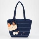 側背包~啵啵貓日系貓咪包 啵啵貓條紋側背包(附贈貓咪零錢包)/肩背包/手提包/拼布包包