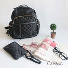 Catsbag|韓防水菱格多收納後背包|附手拿化妝包|8700
