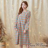 【Tiara Tiara】激安 經典格紋圓領寬版長袖洋裝(深色系/淺色系)