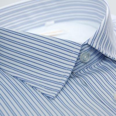【金‧安德森】白底藍色條紋內裡刷毛長袖襯衫