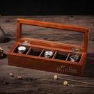 手錶盒木質制玻璃天窗手錶盒手串鏈首飾品手錶收納盒子展示盒箱子