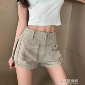短褲 港風夏季新款高腰寬鬆顯瘦寬管休閒褲潮  【快速出貨】