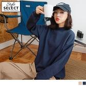 《KG0986-》素色內刷毛拼接羅紋微立領寬鬆大學T上衣 OB嚴選