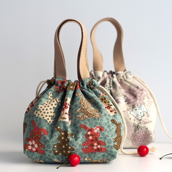 日式抽繩帆布小拎包 休閒零錢包手提包 飯盒包印花百搭布藝小包