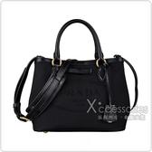 PRADA Elegant Style Totes刺繡LOGO蝴蝶結設計帆布扣式手提斜背包(黑)