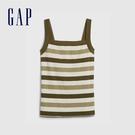 Gap女裝 時尚內搭條紋印花吊帶衫 577515-軍綠條紋